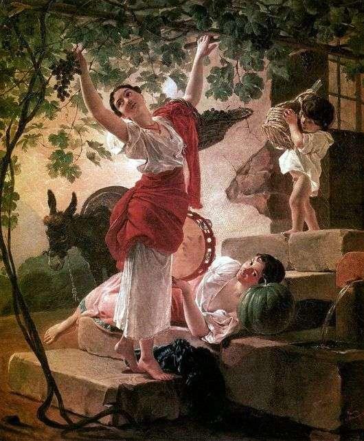 Описание картины Карла Брюллова «Девушка, собирающая виноград в окрестностях Неаполя»