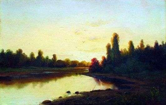 Описание картины Ефима Волкова «Закат на реке»