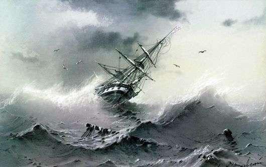 Описание картины Ивана Айвазовского «Тонущий корабль» (Кораблекрушение)