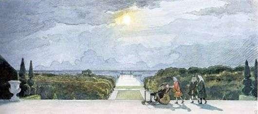 Описание картины Александра Бенуа «Версаль. Прогулка короля»