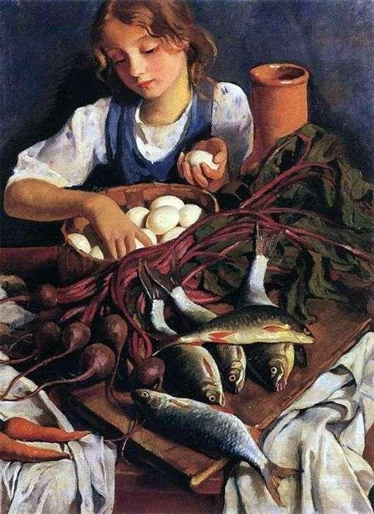 Описание картины Зинаиды Серебряковой «На кухне. Портрет Кати»