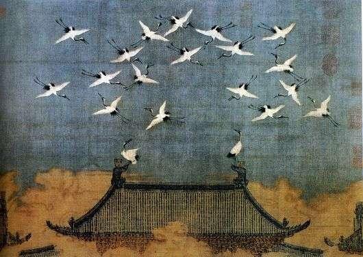 Описание картины Чжао Цзи «Журавли»
