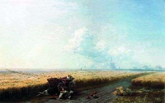 Описание картины Ивана Айвазовского «Во время жатвы на Украине»