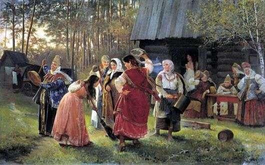 Описание картины Алексея Корзухина «Девичник»