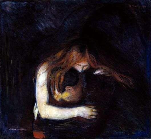 Описание картины Эдварда Мунка «Вампир»