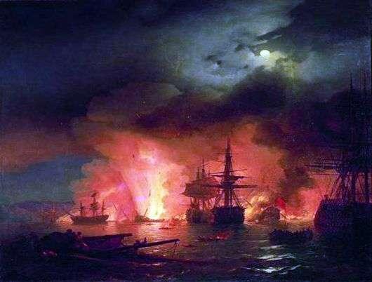 Описание картины Ивана Айвазовского «Чесменский бой»