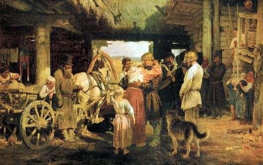 Описание картины Ильи Репина «Проводы новобранца»