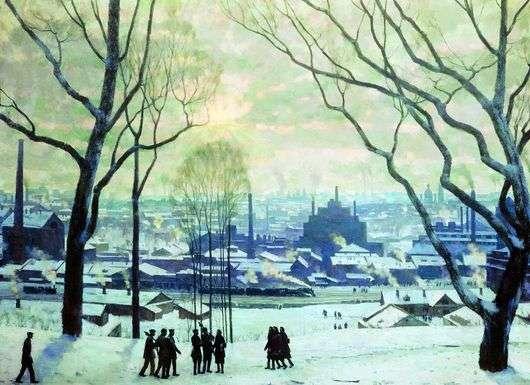 Описание картины Константина Юона «Утро индустриальной Москвы»