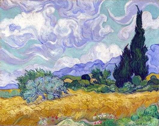Описание картины Винсента Ван Гога «Пшеничное поле с кипарисами»