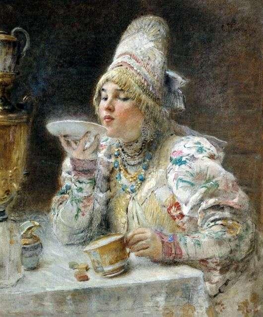 Описание картины Константина Маковского «За чаем»