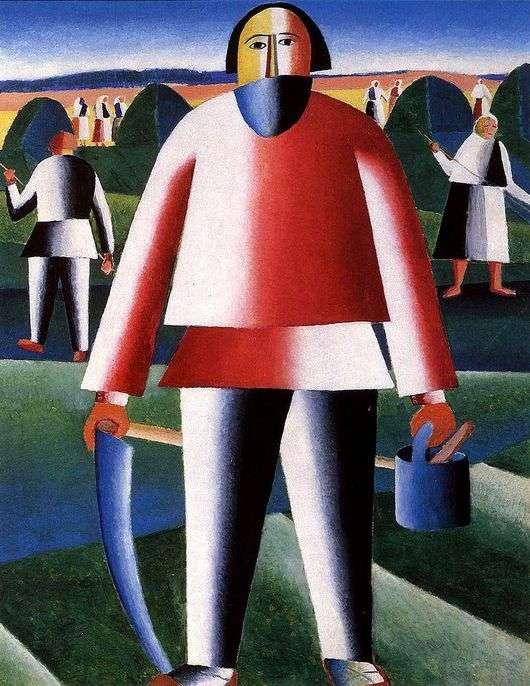 Описание картины Казимира Малевича «На сенокосе» (Косарь)