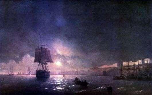 Описание картины Ивана Айвазовского «Одесса ночью»