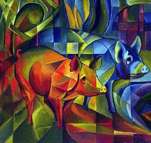 Описание картины Франца Марка «Свиньи»