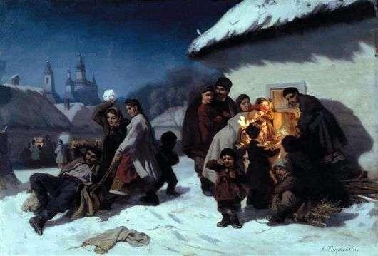 Описание картины Константина Трутовского «Колядки в Малороссии»