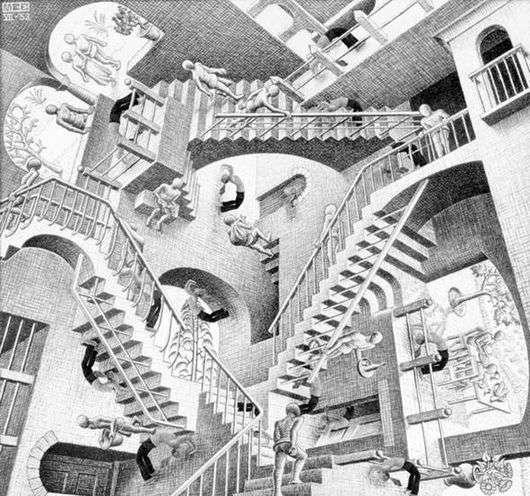 Описание картины Маурица Эшера «Относительность»