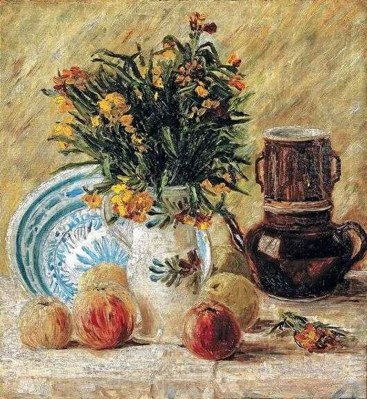 Описание картины Винсента Ван Гога «Ваза с цветами кофейником и фруктами»
