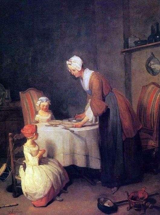Описание картины Жана Батиста Симеона Шардена «Молитва перед обедом»