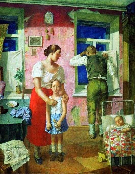 Описание картины Кузьмы Сергеевича Петрова Водкина «1919 год. Тревога»