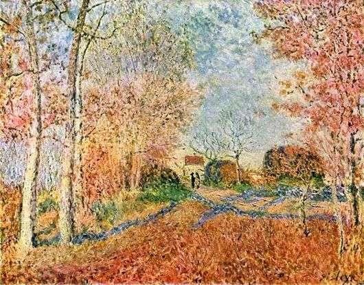 Описание картины Альфреда Сислея «Дорога на опушке леса»