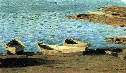 Описание картины Исаака Левитана «У берега. Лодки»