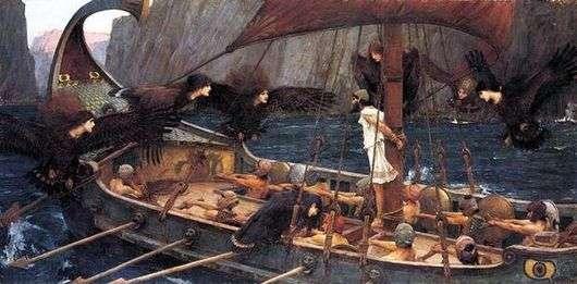 Описание картины Джона Уотерхауса «Одиссей и сирены»
