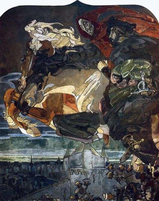 Описание картины Михаила Врубеля «Полет Фауста и Мефистофеля»