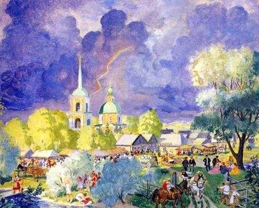 Описание картины Бориса Кустодиева «Гроза»