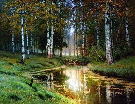 Описание картины Ефима Волкова «Золотая осень. Тихая речка»