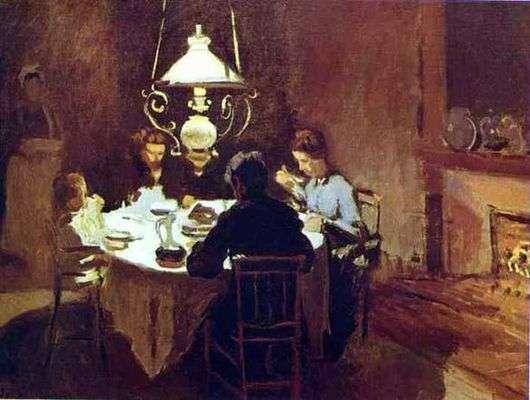 Описание картины Клода Моне «Обед»