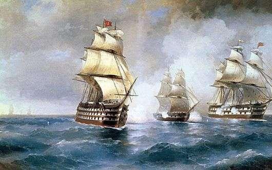 Описание картины Ивана Айвазовского «Бриг Меркурий, атакованный двумя турецкими кораблями»