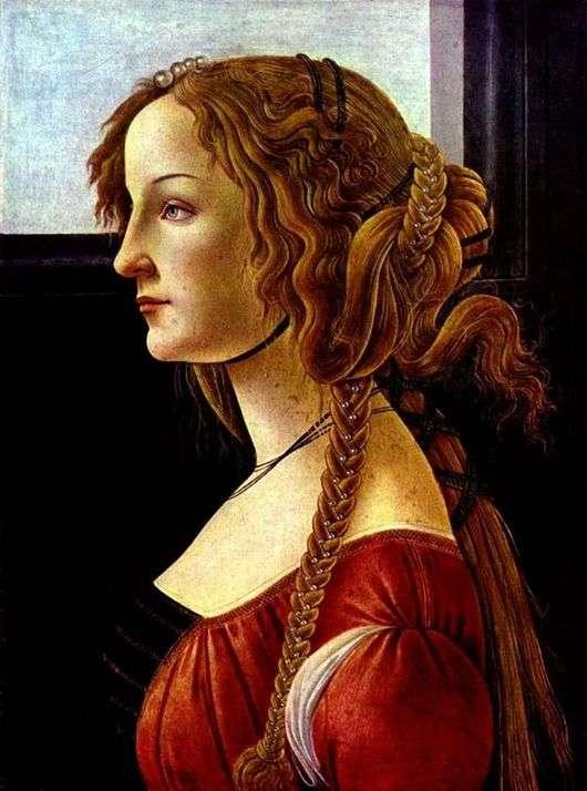 Описание картины Сандро Боттичелли «Симонетта Веспуччи»