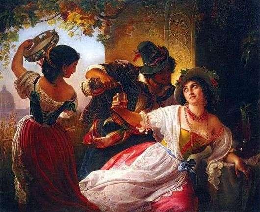 Описание картины Пимена Орлова «Октябрьский праздник в Риме»