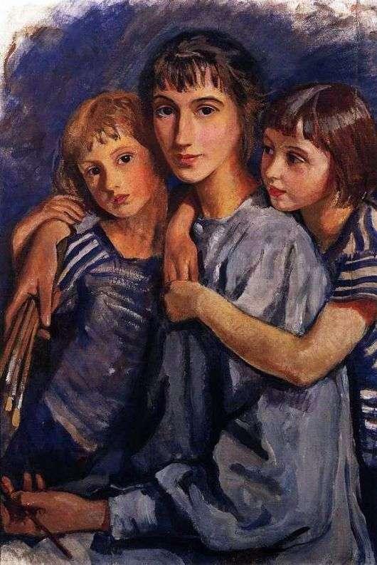 Описание картины Зинаиды Серебряковой «Автопортрет с двумя дочерьми»