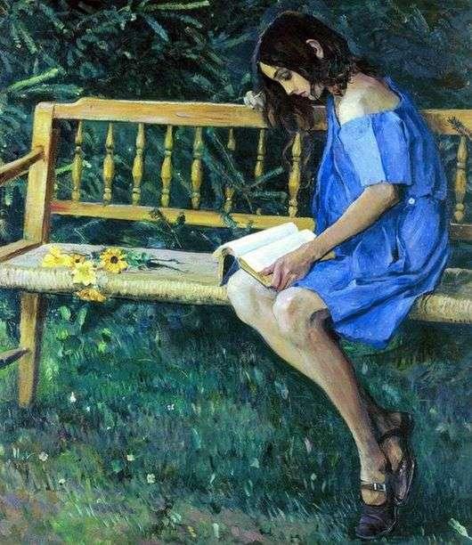 Описание картины Михаила Нестерова «Наташа на садовой скамейке»
