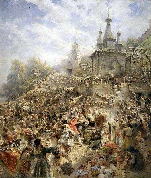 Описание картины Константина Маковского «Воззвание Минина к нижегородцам»