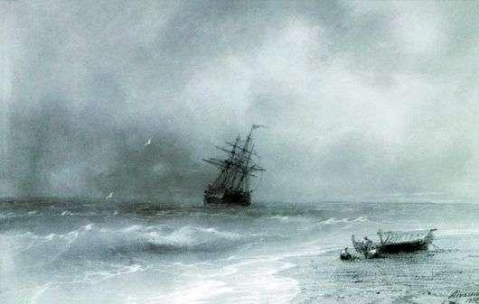 Описание картины Ивана Айвазовского «Бурное море»