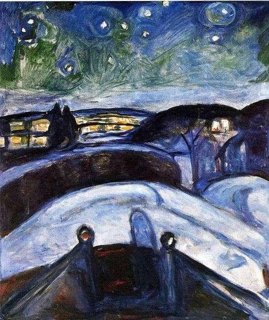 Описание картины Эдварда Мунка «Звездная ночь»