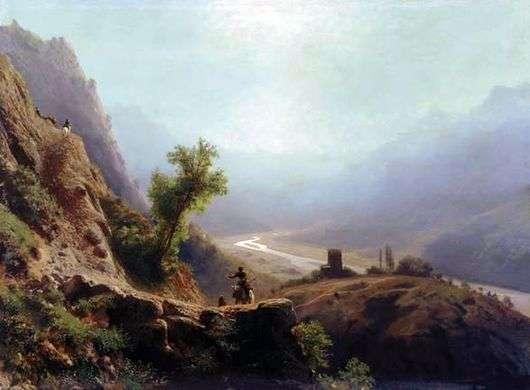 Описание картины Льва Лагорио «В горах Кавказа»