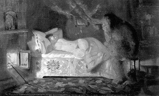 Описание картины Бориса Кустодиева «Купчиха и домовой»