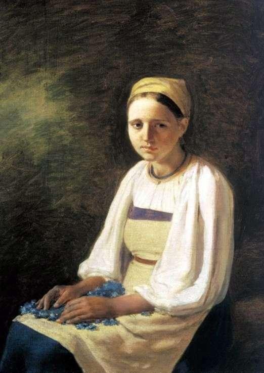 Описание картины Алексея Венецианова «Крестьянка с васильками»