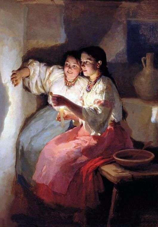 Описание картины Николая Пимоненко «Святочное гадание»