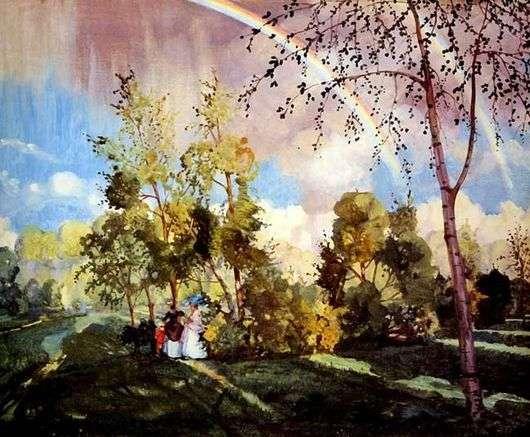 Описание картины Константина Сомова «Пейзаж с радугой»