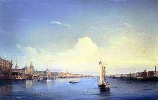 Описание картины Алексея Боголюбова «Петербург при заходе солнца»