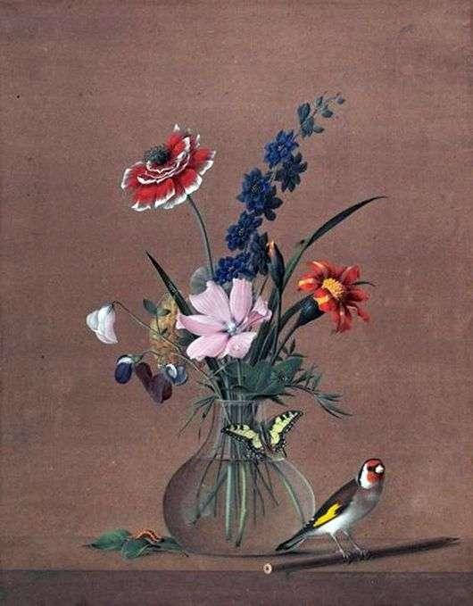 Описание картины Федора Толстого «Букет цветов, бабочка и птичка»