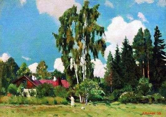 Описание картины Аркадия Рылова «Домик с красной крышей»
