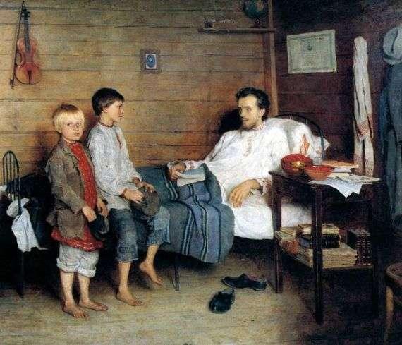 Описание картины Николая Богданова Бельского «У больного учителя»