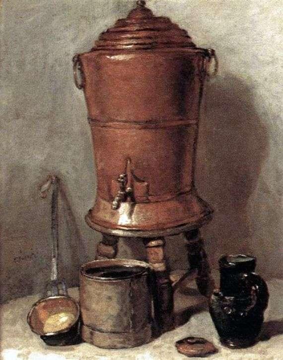 Описание картины Жана Батиста Шардена «Медный бак для воды»