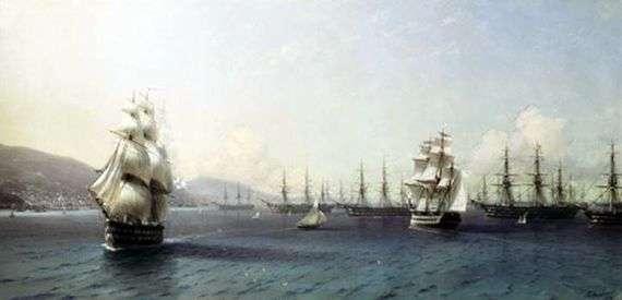 Описание картины Ивана Айвазовского «Черноморский флот в Феодосии»