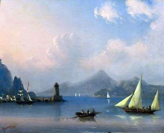 Описание картины Ивана Айвазовского «Морской пролив с маяком»