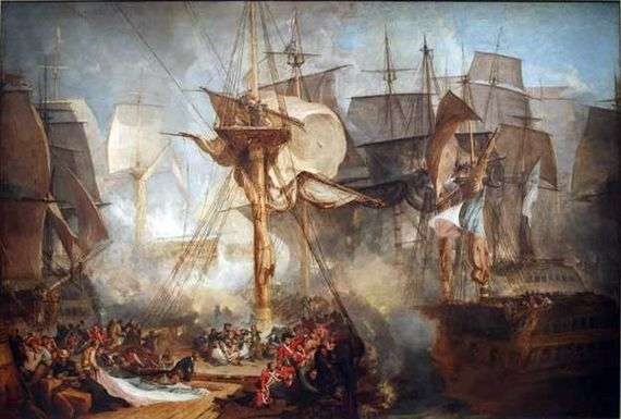 Описание картины Уильяма Тернера «Трафальгарская битва»